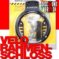 Leichtes Veloschloss RAHMEN-SCHLOSS STAHLEX 487 Ringschloss Fahrradschloss SCHWARZ