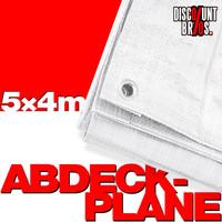 55g/m² Gewebeplane ABDECKPLANE Blache Plane mit Ösen WEISS ca. 5×4m