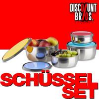 Edelstahl SCHÜSSEL-SET mit bunten Deckeln VORRATSDOSEN Frischhaltedosen 4-teilig