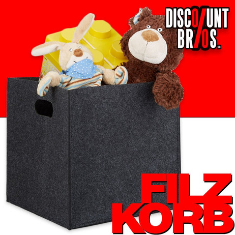 Quadratischer Filzkorb KORB Aufbewahrungsbox aus Filz 30×30×30cm DUNKELGRAU – Bild 1
