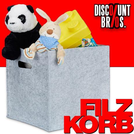 Quadratischer Filzkorb KORB Aufbewahrungsbox aus Filz 30×30×30cm GRAU – Bild 1