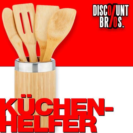 Küchenhelfer KOCHLÖFFEL Küchenutensilien mit Halter aus Bambus Holz 5er Set – Bild 1