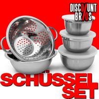 Edelstahl SCHÜSSEL-SET Nudelsieb + Rührschüsseln mit Deckel Frischhaltedosen 8-teilig