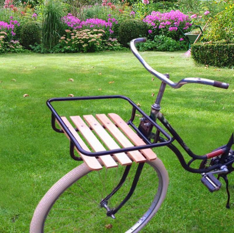 Velo- Fahrrad FRONT GEPÄCKTRÄGER mit Holz
