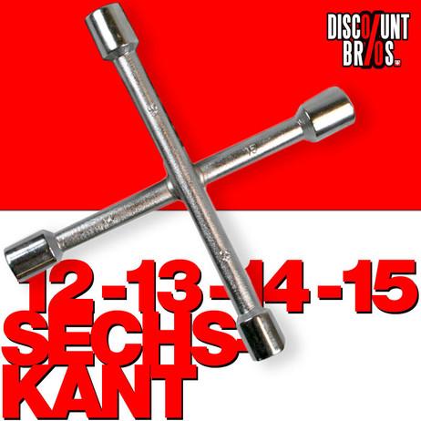 4er Stern Steckschlüssel SECHSKANT Kreuzschlüssel 12/13/14/15 Velo Fahrrad Mofa – Bild 1