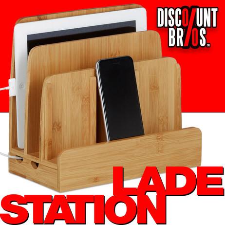 Dokumentenhalter LADESTATION + BRIEFABLAGE Büro-Organzier Bambus Holz – Bild 1