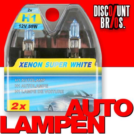 2 Stk. h1 Xenon super weiss AUTO SCHEINWERFER Lampen Licht Autobeleuchtung Autolampen Abblendlicht Fernlicht 12 Volt 55 Watt  – Bild 1