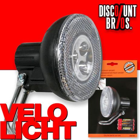 Sport VELOLICHT mit 3 LED Fahrrad Velolampe Scheinwerfer Frontscheinwerfer SCHWARZ – Bild 1