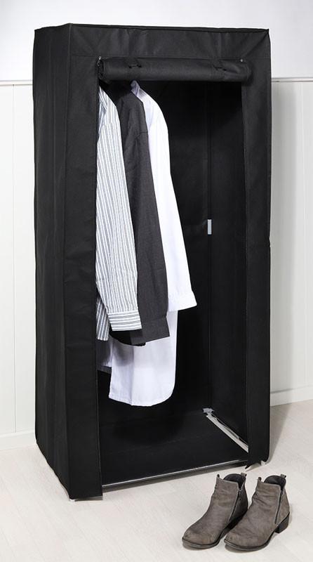 FALTSCHRANK Stoff Kleiderschrank schwarz 70×46×148cm – Bild 3