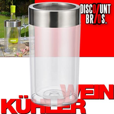 Flaschenkühler WEINKÜHLER transparent doppelwandig 23cm – Bild 1
