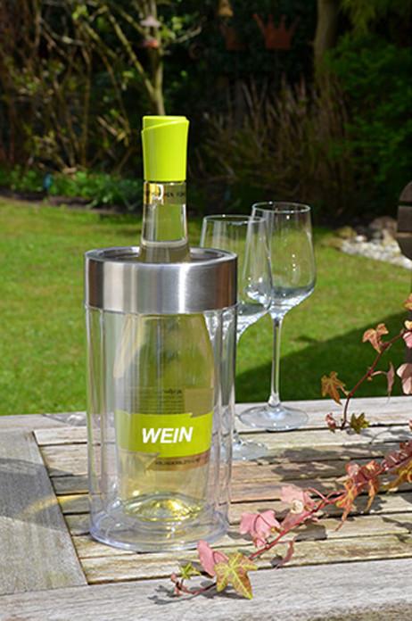 Flaschenkühler WEINKÜHLER transparent doppelwandig 23cm – Bild 3