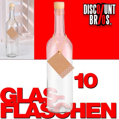 10er-Set 750ml GLASFLASCHEN mit KORKEN Flasche Kunststoffkorken – Bild 1