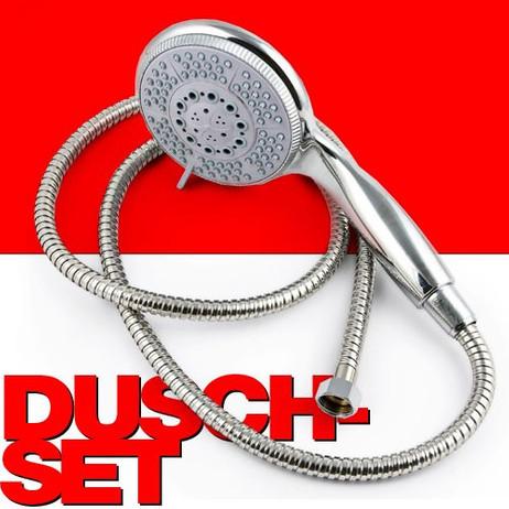 DUSCHBRAUSE-SET Duschkopf mit 5 Strahlfunktionen inkl. Brauseschlauch 150cm – Bild 1