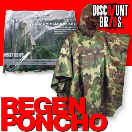 Regenschutz ARMY REGENPONCHO mit Kordel Pelerine Regenumhang Camouflage Tarnfarben – Bild 1
