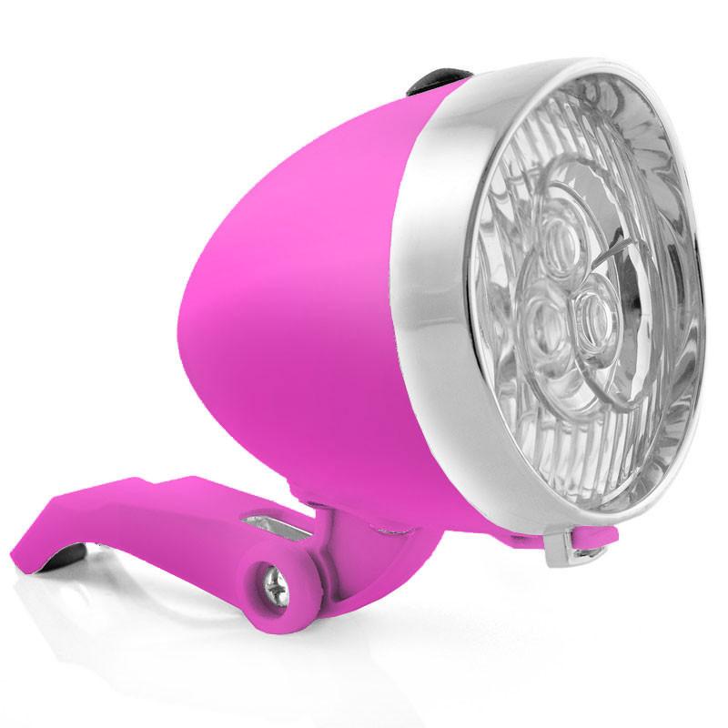 Retro-Design VELOLICHT mit 3 LED Fahrrad Velolampe Scheinwerfer Frontscheinwerfer ROSA