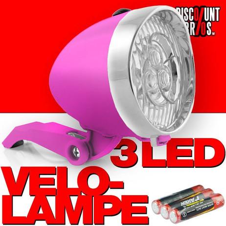 Retro-Design VELOLICHT mit 3 LED Fahrrad Velolampe Scheinwerfer Frontscheinwerfer ROSA – Bild 1