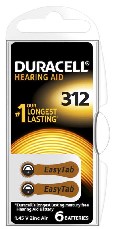 6 Stk. DURACELL ActivAir Easy Tab 312 Hörgerätebatterie PR41 1,4V 6er Blister – Bild 3