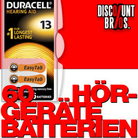 60 Stk. DURACELL ActivAir Easy Tab 13 Hörgerätebatterie PR48 1,4V 6er Blister