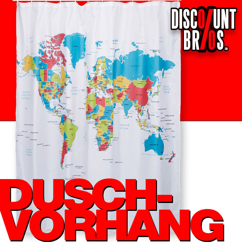 Duschvorhang Weltkarte 180 180cm Haushalt Bad Wc
