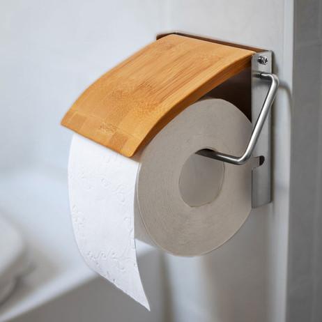 Toilettenpapierhalter WC-PAPIER-HALTER Bambus und Edelstahl – Bild 3
