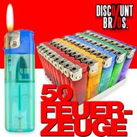 50 Elektronik FEUERZEUGE farbig transparent nachfüllbar