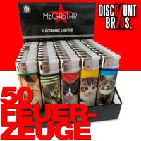 50 Elektronik FEUERZEUGE KATZEN-Motiv nachfüllbar