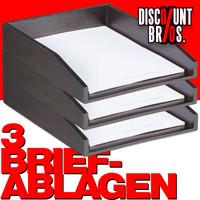 3 Stk. Dokumentenablage Papierablage BRIEFABLAGE Bambus BRAUN 3er-Set
