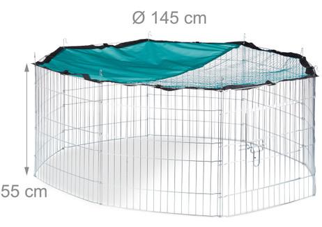 XL FREILAUFGEHEGE Käfig für Kleintiere mit Netz Ø145cm – Bild 8