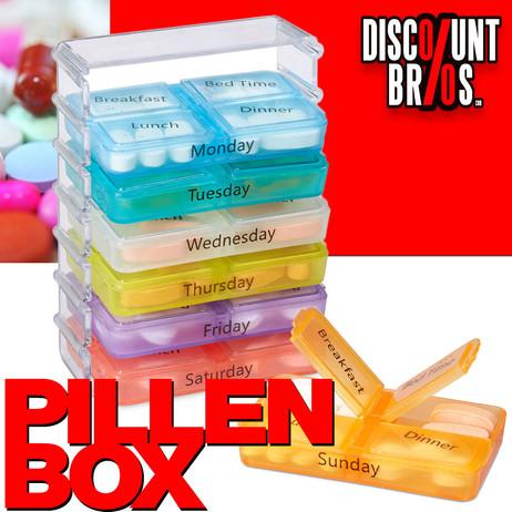 Tablettenbox PILLENBOX 7 Tage 4 Fächer – Medikamentenorganizer für eine Woche ENGLISCH – Bild 1