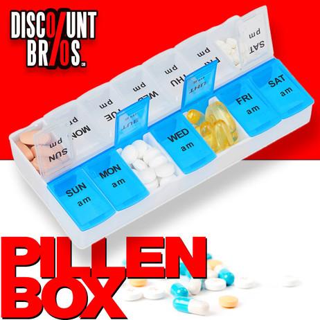Tablettenbox PILLENBOX Wochenbox 7 Tage 2 Fächer – Medikamentenorganizer für eine Woche ENGLISCH – Bild 1
