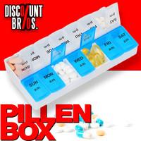 Tablettenbox PILLENBOX Wochenbox 7 Tage 2 Fächer – Medikamentenorganizer für eine Woche ENGLISCH