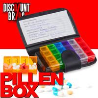 Tablettenbox PILLENBOX MIT ETUI Wochenbox 7 Tage 4 Fächer – Medikamentenorganizer für eine Woche