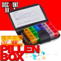 Tablettenbox PILLENBOX MIT ETUI Wochenbox 7 Tage 4 Fächer – Medikamentenorganizer für eine Woche ENGLISH