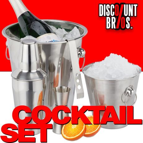 Edelstahl COCKTAILSET Barzubehör Set 5-teilig: Flaschenkühler Eiskübel Shaker Eiszange Barmass – Bild 1
