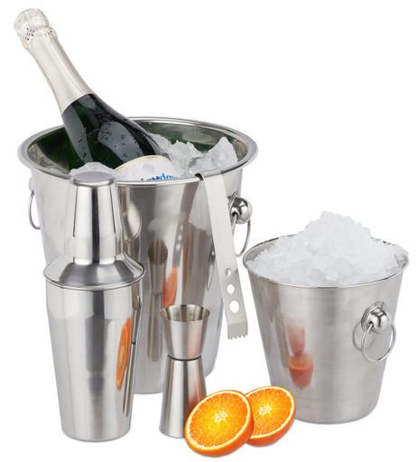 Edelstahl COCKTAILSET Barzubehör Set 5-teilig: Flaschenkühler Eiskübel Shaker Eiszange Barmass – Bild 2