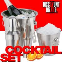 Edelstahl COCKTAILSET Barzubehör Set 5-teilig: Flaschenkühler Eiskübel Shaker Eiszange Barmass 001