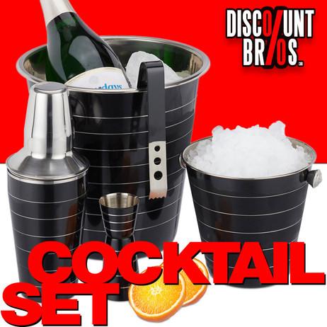 Edelstahl COCKTAIL-SET Barzubehör Set 5-teilig SCHWARZ: Flaschenkühler Eiskübel Shaker Eiszange Barmass – Bild 1