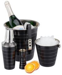 Edelstahl COCKTAIL-SET Barzubehör Set 5-teilig SCHWARZ: Flaschenkühler Eiskübel Shaker Eiszange Barmass