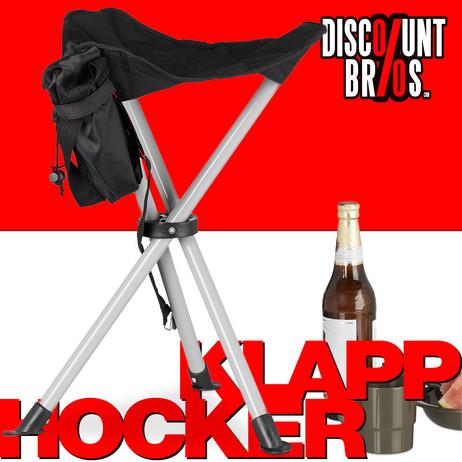 Klassischer Dreibein KLAPPHOCKER Klappstuhl Falthocker Campinghocker Campingstuhl SCHWARZ – Bild 1