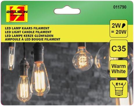 A++ 2W LED Leuchtmittel Licht Kerze Filament LED LAMPE Glühbirne Klassisch  C35 e14 WARMWEISS – Bild 3