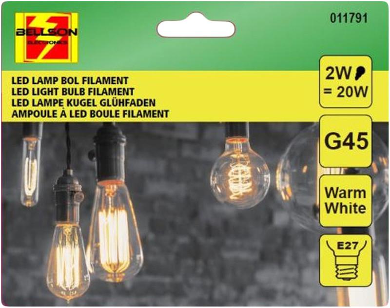 A++ 2W LED Leuchtmittel Licht Filament LED LAMPE Glühbirne Klassisch  G45 e27 WARMWEISS