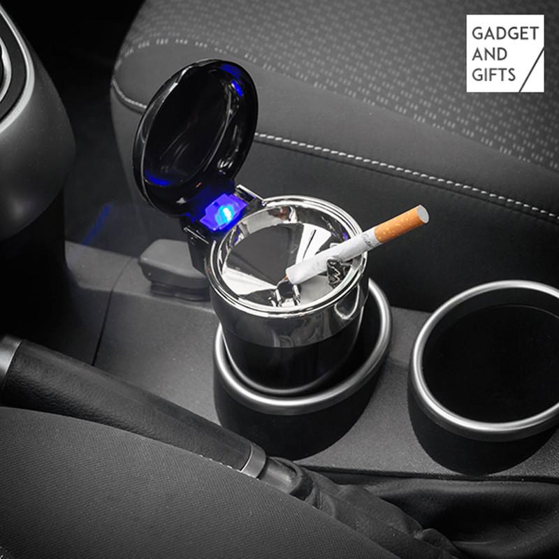 AUTO-ASCHENBECHER Aschenbecher für Getränkehalter mit Deckel und LED Licht