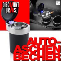 AUTO-ASCHENBECHER Aschenbecher für Getränkehalter mit Deckel und LED Licht 001