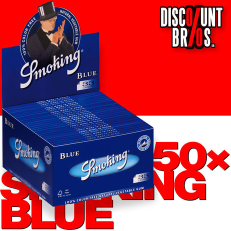50 × SMOKING BLUE King Size Papers Blau 33 Blatt Zigarettenpapier 108×52mm – Bild 1