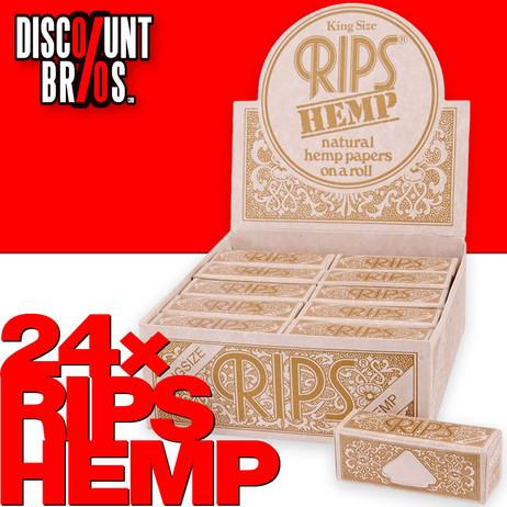 24 × RIPS HEMP Hanf King Size Papers Braun 5m Zigarettenpapier 5m×53mm – Bild 1