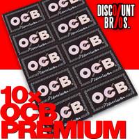 10 × OCB PREMIUM Double Window Papers Black Schwarz Zigarettenpapier 100 Blatt 69×36mm 001