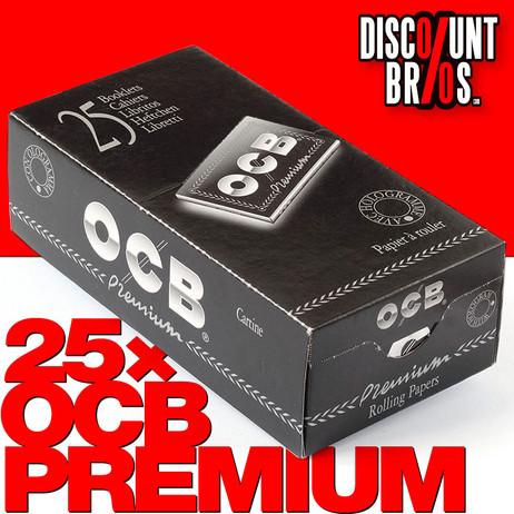 25 × OCB PREMIUM Double Window Papers Black Schwarz Zigarettenpapier 25 ×100 Blatt 69×36mm – Bild 1