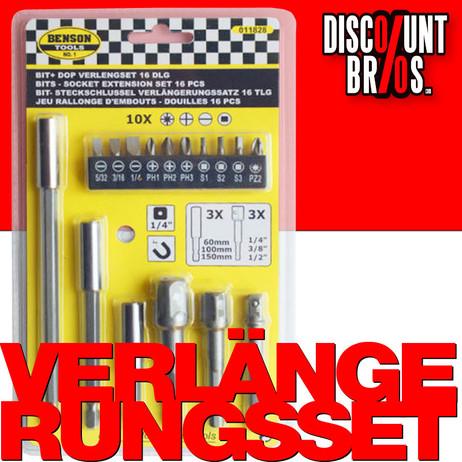 BITs Adapter Bithalter Magnetbithalter + Steckschlüssel VERLÄNGERUNGS-Set 16tlg.