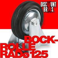 BOCKROLLE 125mm ROLLE RAD FESTROLLE mit Anschraubplatte und Vollgummi-Rad