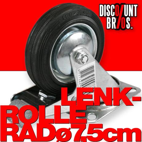 LENKROLLE 75mm ROLLE RAD mit Anschraubplatte und Vollgummi-Rad mit Totalfeststeller – Bild 1